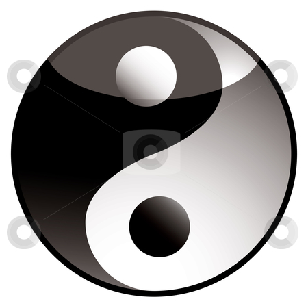 Ying yang shadow stock vector clipart, Black and white ying yang icon with light reflection by Michael Travers