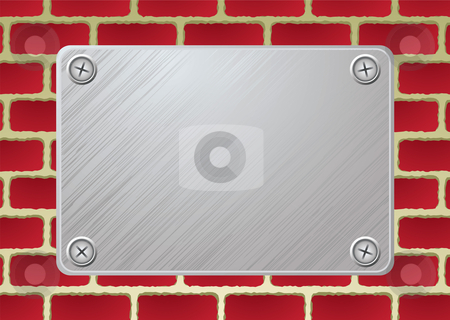 Brickwall metal plate stock vector clipart, Silver metal plate with screw on red brickwall by Michael Travers