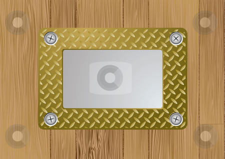 Gold metal plaque stock vector clipart, Gold metal name plate screwed to a wooden wall background by Michael Travers