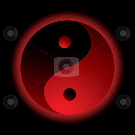 Ying yang burn stock vector clipart, Bright red ying yang logo with outer glow by Michael Travers