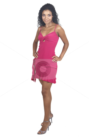 Beautiful brunette woman  stock photo, Beautiful brunette woman wearing pink cocktail dress and accessories smiling on white background. Not isolated by Elena Weber (nee Talberg)