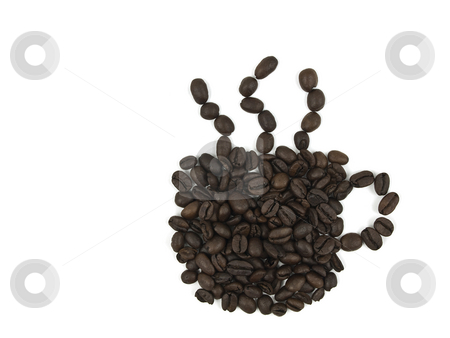Coffee Cup Beans stock photo, Coffee beans in the form of a cup with steam by John Teeter