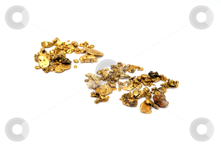 Gold Nuggets stock photo, Gold in nugget form mined from the rivers and streams of California insolated on white by Lynn Bendickson