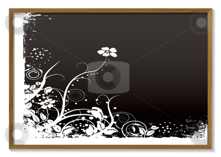 Floral blackboard stock vector clipart, Modern black board with white chalk floral design by Michael Travers