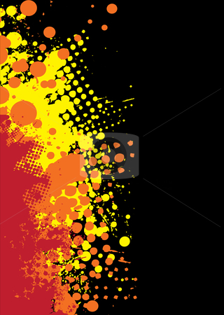 Grunge splat red hot stock vector clipart, Abstract orange and red background with ink splat pattern by Michael Travers