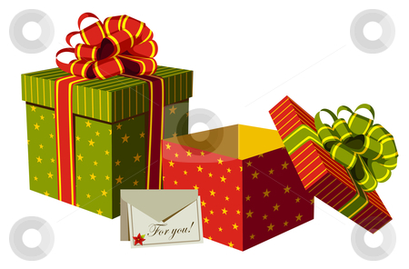 Christmas gifts boxes stock vector clipart, Gifts boxes and personalized card with Christmas flower. White background. Vector available by Cienpies Design