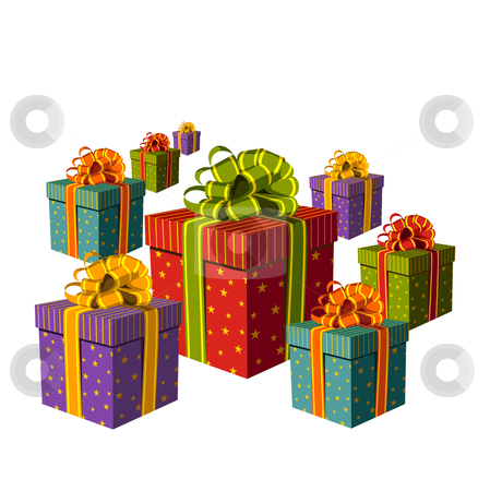 Colorful group of gift boxes stock vector clipart, Colorful gift boxes with important ribbons. White background. Vector available by Cienpies Design