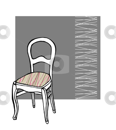 Upholstered chair stock vector clipart, Upholstered chair with white lines pattern in the background by Cienpies Design