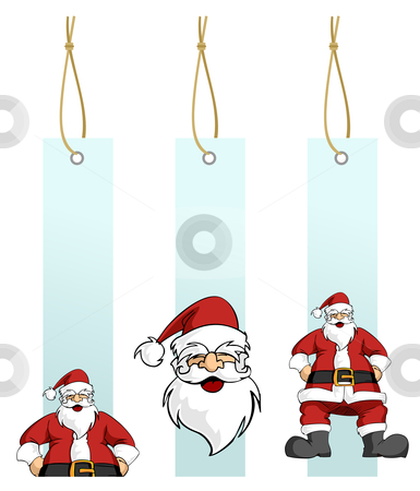 Christmas series: Santa Claus character in hanging lables stock vector clipart, Happy Santa Claus in different light blue hanging tags. White background. Vector illustration by Cienpies Design