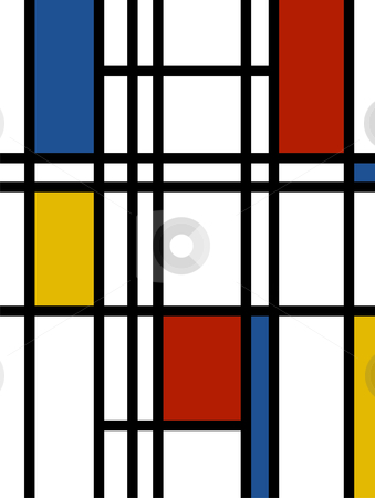 Mondrian background retro print stock vector clipart, Mondrian inspired vibrant colors background by Cienpies Design