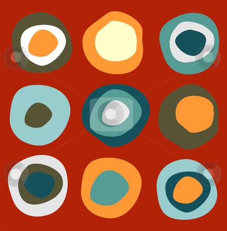 Colorful circles pattern stock vector clipart, Colorful circles pattern on red background by Cienpies Design