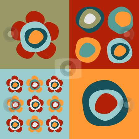 Flowers and circles pattern stock vector clipart, Pattern of squares with colorful circles and flowers by Cienpies Design
