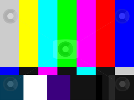 TV colored bars signal stock vector clipart, Television colored bars signal. Test signal at the introduction and the end of the TV programming. by Cienpies Design