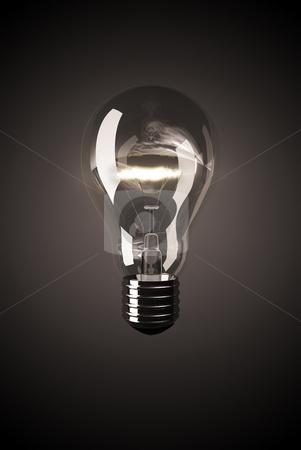 Light bulb stock photo, Shining clear light bulb on black background by Peter Lecko