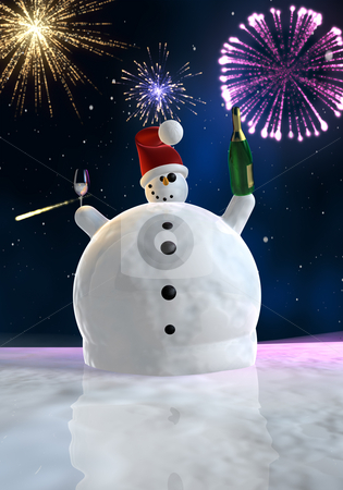 Funny snowman is celebrating stock photo, Frozen snowman drink champagne with fireworks in background by Peter Lecko