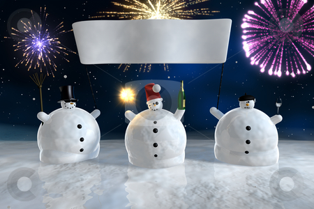 Drunk funny snowmen with banner stock photo, Frozen snowmen drink champagne with fireworks in background by Peter Lecko