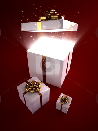 Open gift box with magic inside stock photo, Glowing particles flowing out from box by Peter Lecko
