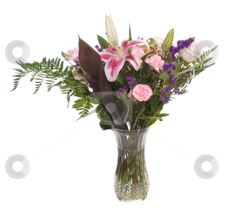 Bouquet of Flowers stock photo, A bouquet of flowers inside a vase, isolated against a white background. by Richard Nelson