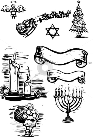 Set of Xmas Spots stock vector clipart, Set of Christmas Spot illustrations and banners. by Jeffrey Thompson