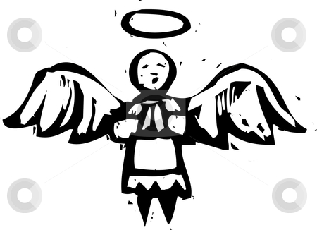 Woodcut Angel  stock vector clipart, Christmas Angel with halo in woodcut style. by Jeffrey Thompson
