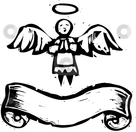 Angel With Banner stock vector clipart, Christmas Angel with halo and banner in woodcut style. by Jeffrey Thompson