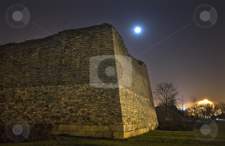 City Wall Park With Moon and Stars Night Beijing China stock photo, City Wall Park with Moon Stars at Night Dongguan Men in Background Beijing China by William Perry