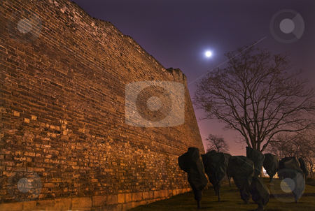 City Wall Park Moon Stars Night Beijing China stock photo, City Wall Park at Night with Moon and Stars Beijing China  Trees are wrapped for winter. by William Perry