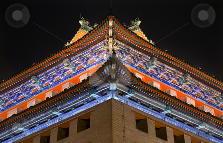 Ornate Corner Roof Southeast Watchtower Dongguan Men City Wall P stock photo, Ornate Corner Roof Southeast Corner Watchtower Dongguan Men Beijing China  This was the tower the American Army went over in the Boxer Rebellion. by William Perry