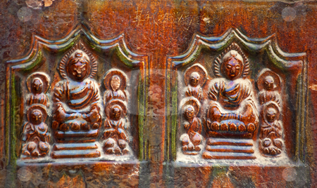 Ancient Buddha Bricks Details Iron Buddhist Pagoda Kaifeng China stock photo, Ancient Buddha Glazed Ceramic Bricks Buddhas Iron Pagoda Buddhist Monument Kaifeng China Built in 1069 by the Kaibao Buddhist Monstary.  Best example of glazed brick pagoda in China by William Perry