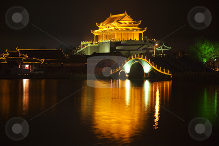 Ancient Dragon Pavilion Night Reflection Bridge Longting Park Ka stock photo, Ancient Dragon Pavilion Longting Park Night Reflection Bridge Kaifeng China  Kaifeng was the capital of the Song Dynasty, 1000 to 1100AD. by William Perry