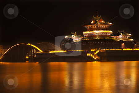Ancient Temple Night Reflection Bridge Jinming Lake Kaifeng Chin stock photo, Ancient Temple Night Reflection Bridge Jinming Lake Kaifeng China  Kaifeng was the capital of the Song Dynasty, 1000 to 1100AD. by William Perry