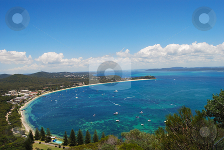Shoal Bay stock photo, Aerial view of a bay from the top of a mountain by Emma White