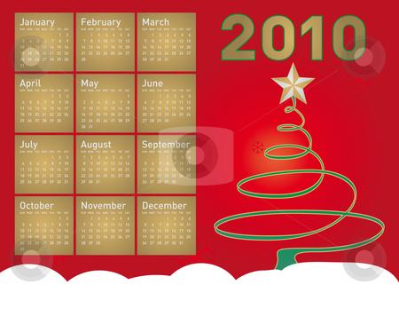Christmas Calendar 2010 stock vector clipart, Christmas themed 2010 Calendar, in vector format by Germán Ariel Berra