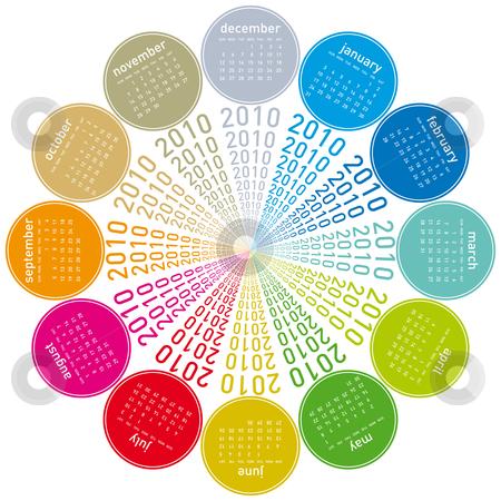 Colorful Calendar for 2010. stock vector clipart, Colorful Calendar for year 2010, rotating design, in vector format. by Germán Ariel Berra