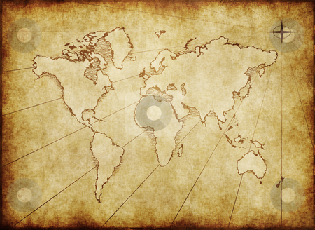 Old grungy world map on paper stock photo, An old world map drawn onto parchment paper by Phil Morley