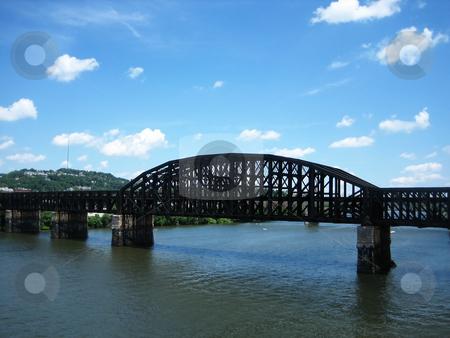 Bridges stock photo, Stock pictures of a metal bridge in a city by Albert Lozano