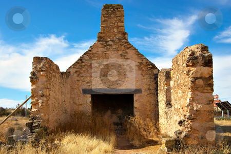 Old ruins stock photo, Old ruins of a stone farmhouse full of weeds and rubble by Phil Morley