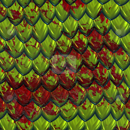 Bloody dragonskin stock photo, A large image of green shiny dragon scales or hide splashed with red blood by Phil Morley