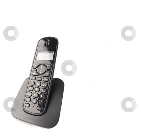 Isolated phone stock photo, Dect cordless phone isolated on withe background by Ivan Montero