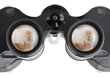 Isolated binoculars with money stock photo, Close up of a binoculars tool isolated over a white background by Ivan Montero