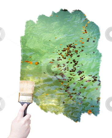 Marketing paint brush stock photo, Hand holding a painting brush isolated on withe background by Ivan Montero