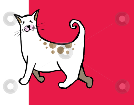 Cute cat with curly tail on red and white background  stock vector clipart, Isolated white and brown cat. Vector avaliable by Cienpies Design