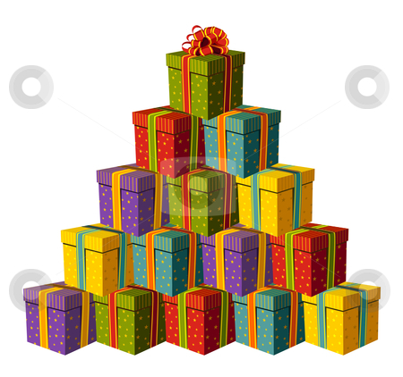 Gift boxes forming a Christmas tree stock vector clipart, Colorful gift boxes forming a Christmas tree with a red ribbon as a star. White background. Vector available by Cienpies Design