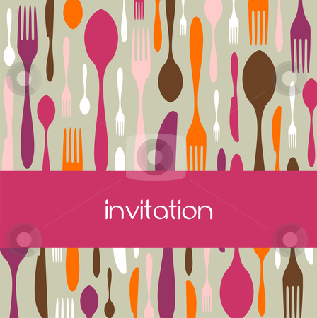 Cutlery pattern invitation stock vector clipart, Food, restaurant, menu design with cutlery silhouette background. Warm colors. Suitable as invitation dinner card. Vector avaliable by Cienpies Design