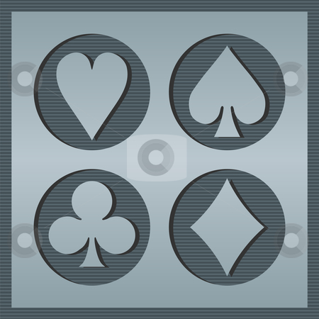 Poker card icons stock vector clipart, Poker playcards icons framed in circles on striped background. Grey tones. Vector avilable by Cienpies Design