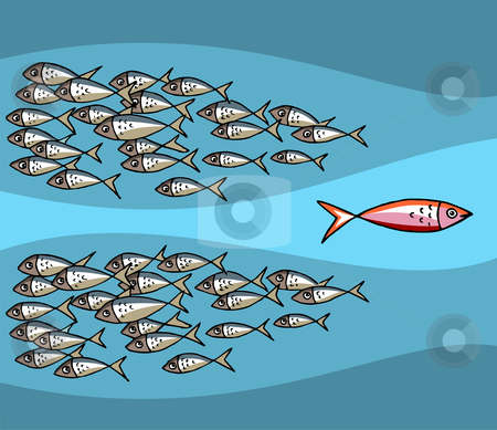 Fish Swimming Against The Tide stock vector clipart, Different Fish Swimming Against The Tide. Blue background. Vector available by Cienpies Design