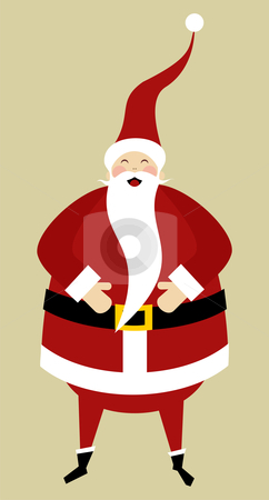 Santa greeting card stock vector clipart, Christmas Series: Happy Santa Claus laughing with his hands on his belly over beige background. by Cienpies Design