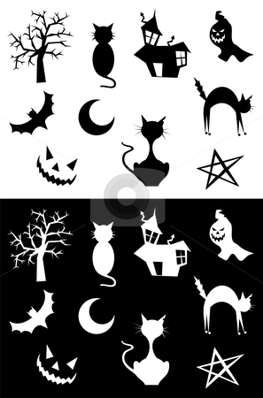 Halloween silhouettes stock vector clipart, Halloween silhouettes set, element for design, on white and black background. Vector illustration. by Cienpies Design