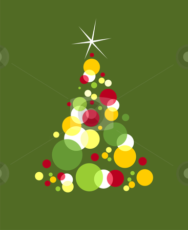 Christmas tree formed with colored bubbles stock vector clipart, Red, yellow, and green bubbles forming a Christmas tree with a shiny white star on top. Green background. Vector available by Cienpies Design