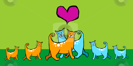 Cats in love with their offspring. stock vector clipart, Couple of cats in love with their offspring. Pink heart above them on green background by Cienpies Design